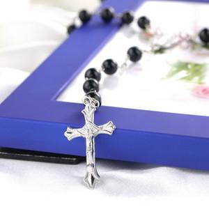 Mens Beckham Cross Pendant Black Rosary Beads Necklace