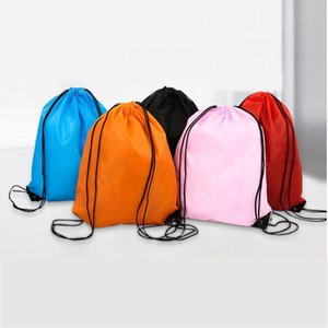 Creative Portable Drawstring Backpack Solid Color Sports Fashion String Folding Drawstring Bags D210 Polyester Storage Handle Bags KKD3408