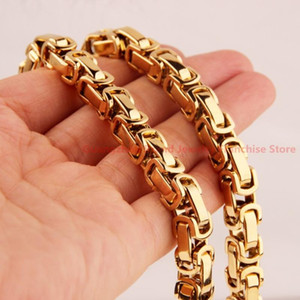 New Arrival 7-40'' Choosing 8mm Mens Jewelry Gold color Stainless Steel Byzantine Chain Necklace & Bracelet Top Design
