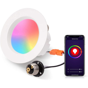 Smart Recessed Lighting,WiFi LED Recessed Downlight, Dimmable 2700K-6000K RGB E26 Base Smart LED Ceiling Light Work with Alexa Google Home