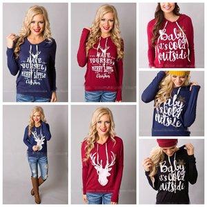 Giacche di Natale Lettera Felpe con cappuccio Donna Cappotto Casual Cappotto Manica Lunga Felpe Hot Bluses Pullover Outwear Jumper 10pcs OOA3035