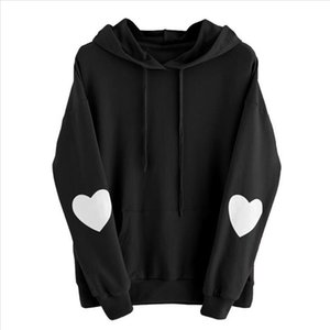Long Sleeve Daily Drawstring With Pocket Warm Ladies Casual Autumn Winter Travel Sweatshirt Fashion Heart Print Women Hoodies