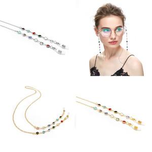 Adulte Enfants Lunettes de soleil Lunettes de soleil Eyeglass Corde Plated Gold Coloré Cristal Face Masque Spectacle Chaîne Mode Accessoires 3 1YT J2