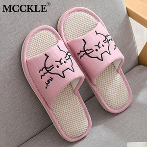 MCCKLE Women's Cotton Slippers Indoor Home Shoes Cartoon Open Toe Female Warm Slipper Soft Woman House Cute Fashion Footwear