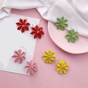 Sohot Color Flowers Pendentif Femmes Hoop Boucles d'oreilles Chic Imitation Pearl Romantique Bijoux Beach Holiday Brincos