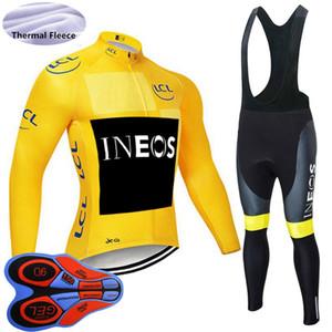 Hiver Inéos Team Hommes Jersey Jersey Costume Thermique Fleeve Longues Chemise à vélos Bib Pants Pantalon Ensemble VTT Vélos Tenue de vélo Sports Uniformes 120904