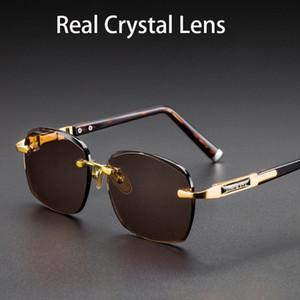 Evove Cam Güneş Gözlüğü Erkek Çerçevesiz Gözlük Erkekler Gerçek Kristal Kahverengi Lens Anti-Scratch Ağır Koyu Renk Anti Yansıma UV400