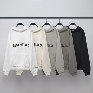 High Street FEAR OF GOD ESSENTIALS New Duplo-line Brasão FOG camisola na moda Marca reflexivos Letras soltas Moda Hoodies