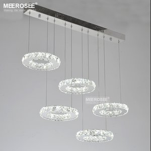 Modern Crystal LED Pendant Light Fixture Good Quality K9 Diamond Chrome Chandelier Hanging Lamp Circle Stainless Steel Indoor Lighting