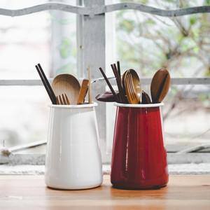 Japanese style storage tube thick enamel chopsticks tube pen holder tool holder kitchen storage retro pen holder vase Y1119