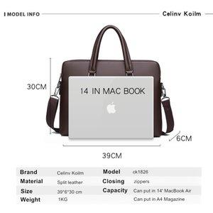 Celinv Koilm мужская кожаная сумка портфель бизнес знаменитый бренд плечо мешок сумки офисная сумка 14-дюймовый ноутбук высокое качество LJ200930