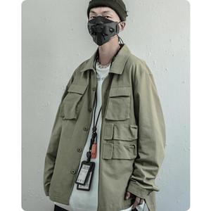 Vestes pour hommes japonais lâche confortable vêtements rétro veste manteaux de poche harajuku oreekaji hip hip hop surdimensionné