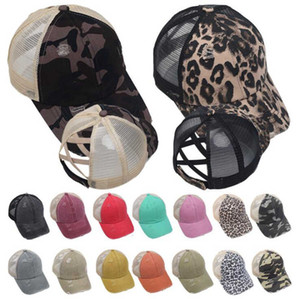 Washed Mesh Back Leopard Camo Hollow Criss Cross Ponytail Messy Bun Baseball Cap Trucker Hat LJJO8225