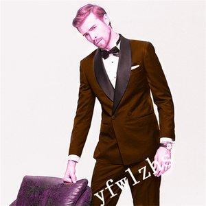 Popular Double-Breasted Groomsmen Shawl Lapel Groom Tuxedos Men Suits Wedding Prom Best Man Blazer ( Jacket+Pantst+Tie) Y202