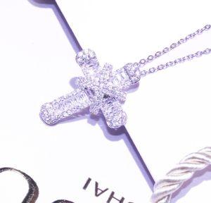 Zircon Silver Necklaces Women Jewelry Pendant Cross Trendy Necklace Cubic Jesus Christian Plated Zirconia Shiny Gift For sqcgz jeneffer