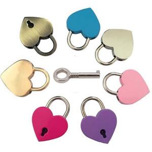 خمر نمط مصغرة سبيكة الحب قفل الأهمية الخوخ القلب قفل السفر حقيبة يد حقيبة دفتر القرطاسية قفل T9i001123
