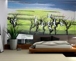 3d Landscape Wallpaper 3d Digital Print Wallpaper Beautiful Scenery of Flying Cranes 3d Wallpaper Custom Photo Mural