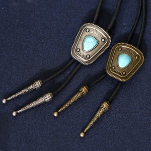 Vintage Western Cowboy Mens BOLO Tie Slide Jeans & Turquoise Super Wide Woven Rope