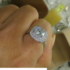 K Size 5 -10 Luxury Jewelry 925 Sterlling Silver Filled Full Topaz Cz Gem Women Wedding Simulated Diamond Wedding Engagement Finger Rin