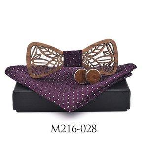 Zdjmeitrxdoow Wooden Bow Tie Set And Handkerchief Bowtie Necktie Cravate Homme Noeud Papillon Man Corbatas Hombre Pajarita Q sqchhg