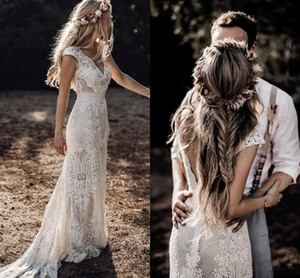 (Free Veil )Country Boho Wedding Dresses Sheath Lace V Neck Cap Sleeve 2020 Mermaid Bridal Gowns Sweep Train Backless Robe De Mariee AL3184