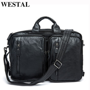 WESTAL Men's Briefcase Bag Men's Genuine Leather Office Bags for Men Laptop Bag Leather Messenger Briefcases Men Computer Bags