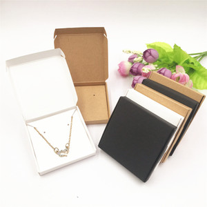 50pcs Kraft Paper Jewelry Display Boxes 300gsm White Black Brown Decorated Package Boxes Earrings Package Boxes on Mother's Day and Valentin