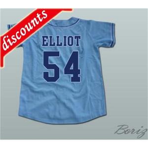 Minismer Chunichi Draghi Jack Elliot Mr. Baseball Movie Jerseys 54 Mens Tutte le cuciture Maglia Bianca Blu Size S-3XL