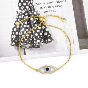 Style élégant Simple Bling Blanc Cz Pave Couleur Evil Eye Gold Charmes Réglable Link Braclet pour Femmes Dainty Gift2021