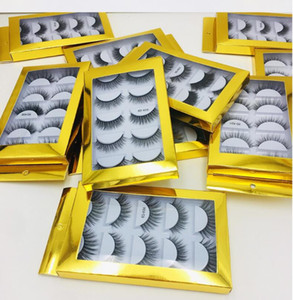 Newest best price 5 Pair Natural Thick synthetic Eye Lashes Makeup Handmade Fake Cross False Eyelashes with Holographic Box