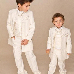 Ivory 4 piece Wedding Suits Boy Tuxedo (Jacket+Pants+Vest+tie) Boys Dress Suit Boy's Formal Wear 5Yoq#