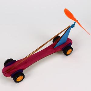 Бесплатная доставка Деревянная резиновая полоса ветряная мельница резиновая мощь мощность автомобилей технологии небольшое производственное изобретение DIY Crafting Class Toy