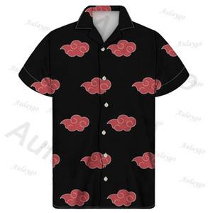 Aulaygo Akatsuki Anime stampa uomini di grande misura Camicie tropicale hawaiana Tops Camicia a maniche corte estiva Maschio camicetta Streetwear Camisas 1117