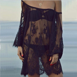 S XXLSexy Womens Lace Dress Women Sexy See Through Swimwear Cover Up Party Club Summer Bodycon Beach Lace Dress