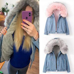 velvet thick denim jacket female winter big fur collar Korean locomotive lamb coat female student short coat 72510
