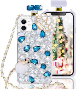 Luxury Diamond Perfume Bottle Case with Chain Lanyard Phone Case for iphone 7 8plus x XR 11 11 Pro Max 12 12 Pro Samsung S10 S20
