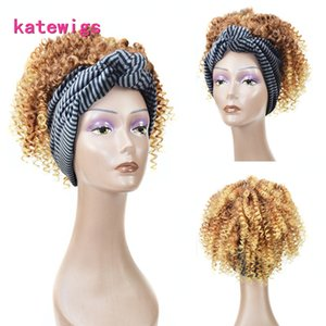 Corto Afro Kinky Curly Head Diadema Peluca Marrón Ombre Rubia Pelucas Sintéticas Para Mujeres Africanas Pelucas Con Bang Pelo Estilo