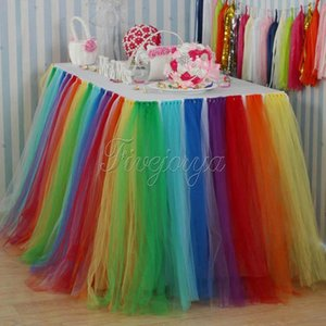 Eco-Friendly Colorful Rainbow Style Tulle Tutu Table Skirt 100Cm X 80Cm For Wedding Favors Party Baby Shower Decoration Home Textile