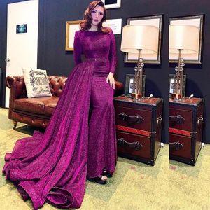 Luxury Glitter Sequin Mermaid Evening Dresses with Remove Train O Neck Long Sleeve Overskirt Bead Belt Celebrity Prom Dress V1