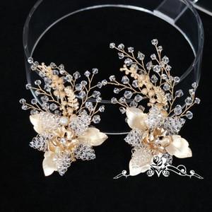 Gold Leaf Beaded Flower Hair Clip Set Wedding Accessories Handmade Bridal Hair Jewelry Clips Women Headwear