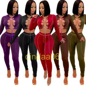 Женщины трексуиты дизайнер 2021 двух частей нарядов сплошной цвет мода одежда повязка с круглыми дамами сексуальные тонкие спортивные костюмы спортивные одежды