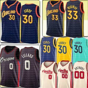 2021 Stephen 30 Curry Jersey 33 Wiseman Jersey Damian 0 Lillard Carmelo 00 Anthony Basketball Jerseys Costurado Logos