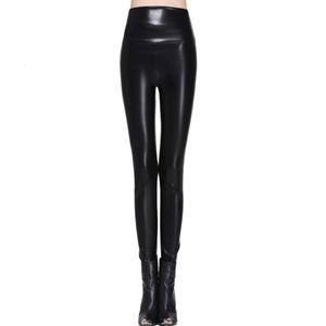 Женское качество умный плюс размер высокой эластичности сексуальные брюки S-XL кожаные сапоги леггинсы