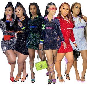 Designers Clothes 2021 New Women Dresses Sexy A-line Bag Hip Rib Lapel Sequin Party Dress Nightclub Women Clothing Wholesale