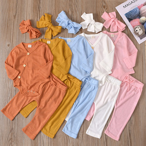 kids clothes Girls boys Solid color outfits infant Tops+pants+Bow Headband 3pcs sets 2021 Spring Autumn Boutique baby Clothing Sets Z2053