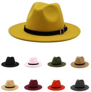 Mode Top Hüte Wolle Filz Fedora Panama Hut Frauen Dame Wolle Wide Remph Hut Casual Outdoor Jazzkappe 16 Farben