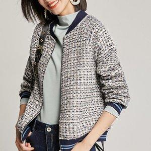 Yiciya 2021 зимняя одежда женщины винтаж на молнии пэчворк Tweed куртки Femme Vimly Vimly короткая куртка для женщин