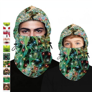 Christmas Mask Digital Printing Hat Multifunctional Winter Fleece Masks Outdoor Warm Hood Adjustable Headwear Decoration Head Cover GWC4490