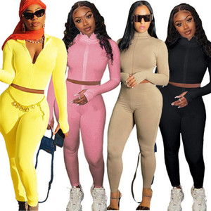 Womens outfits 2 piece set jacket long sleeve cardigan jogging sport suit sweatshirt tights sport suit women tops pants suit klw4979