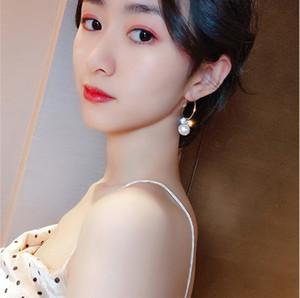 Korea New Design Fashion Jewelry Luxury Zircon Flower dangle Earrings Elegant Pearl Ballroom Party Earrings for women